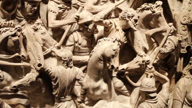 Roman empire battle bas relief