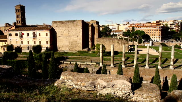 Roman Forum and Coliseum Panning Video HD