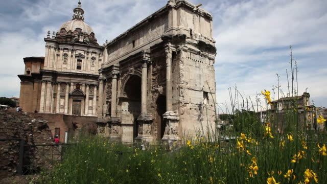 Roman Forum (Forum Romanum),  Arch of Septimius Severus and St Luca Church. , Rome, Italy