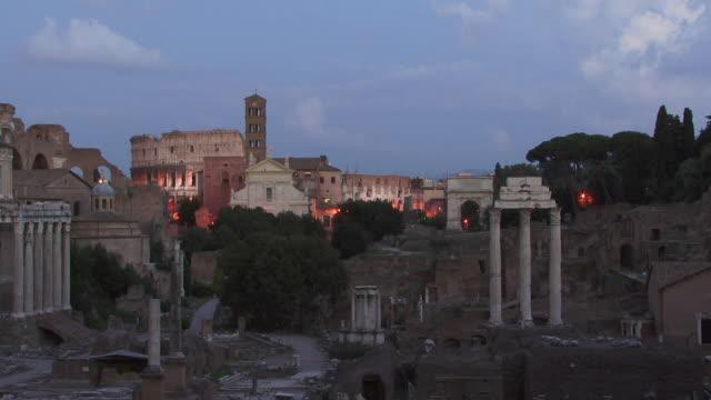 WS, Roman Forum at dusk, Rome, Italy