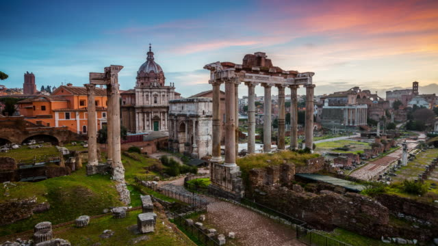 Roman Forum at Sunrise, Rome, Italy - Timelapse