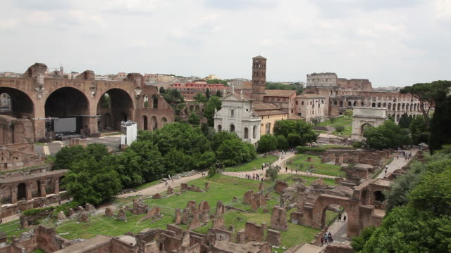 roman forum (forum romanum), from the basilica of maxentius to the coliseum, rome, italy - basilica stock videos and b-roll footage