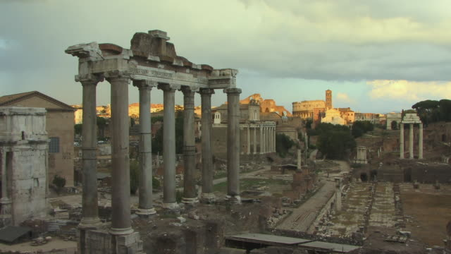 WS, Roman Forum, Temple of Saturn in foreground, Rome, Italy