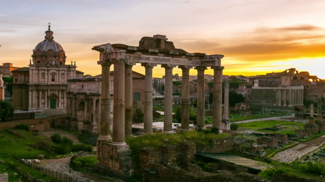 Roman Forum Timelapse at Sunrise, Rome Italy.