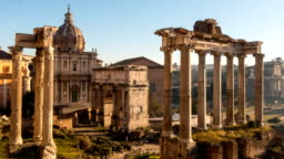 Roman Forum. Vast excavated area of Roman temples