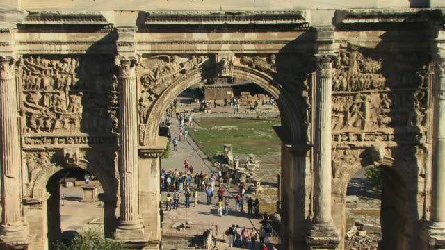 zo, ws, ha, roman forum with arch of septimius severus in foreground, rome, italy - conceptual symbol stock videos and b-roll footage