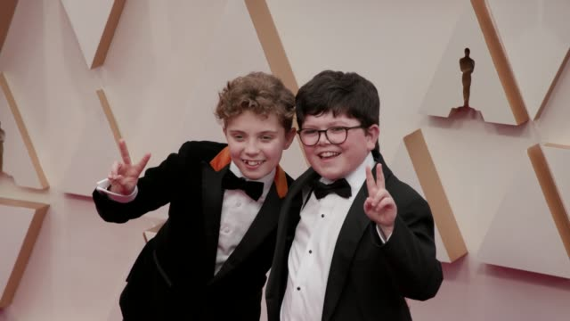 roman griffin davis and archie yates at the 92nd annual academy awards at dolby theatre on february 09 2020 in hollywood california - griffin stock videos & royalty-free footage
