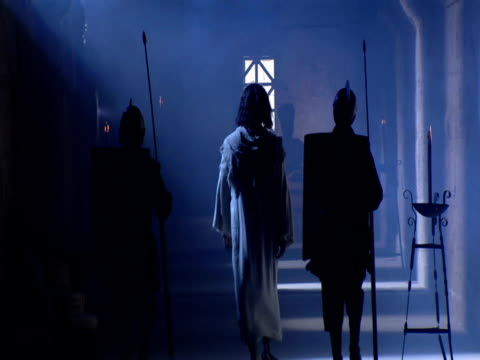 roman guards escort jesus to his trial before pontius pilate. - historical reenactment stock videos & royalty-free footage