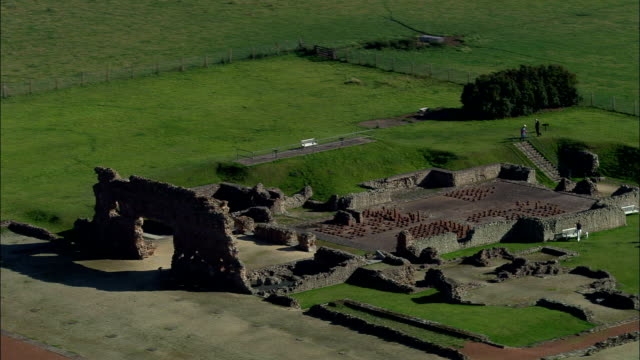 roman remains at wroxeter  - aerial view - england, shropshire, wroxeter and uppington, united kingdom - old ruin stock videos & royalty-free footage