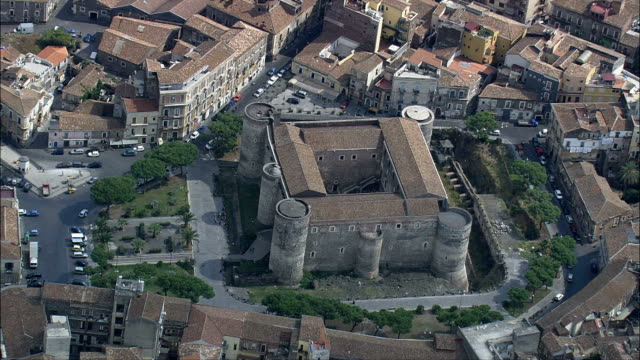 roman remains in catania  - aerial view - sicily, catania, italy - sicily stock videos and b-roll footage