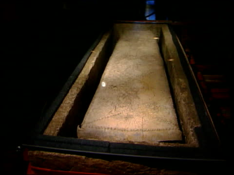 london museum of london int roman sarcophagus in glass case track relection of child on coffin tilt up schoolchildren looking at sarcophagus... - ancient stock videos & royalty-free footage