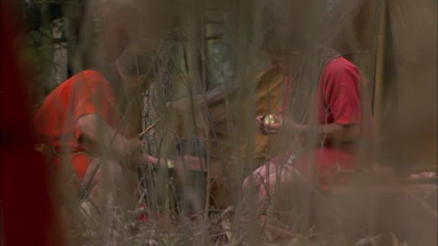 vídeos y material grabado en eventos de stock de roman soldiers cut food into a cook pot at a forest campsite. - soldado romano
