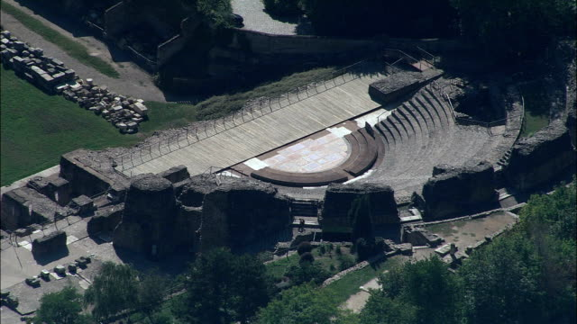 Roman theatres In Lyon  - Aerial View - Rhône-Alpes, Rhône, Arrondissement de Lyon, France