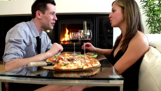 romance couple pizza - www stock videos & royalty-free footage