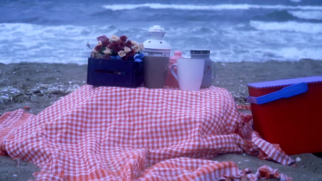 romance on the beach - gingham stock videos & royalty-free footage