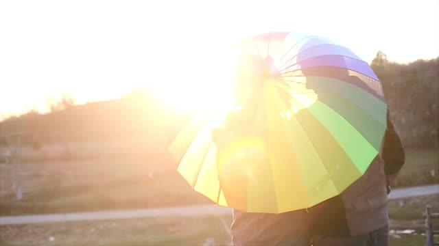 Romance under umbrella