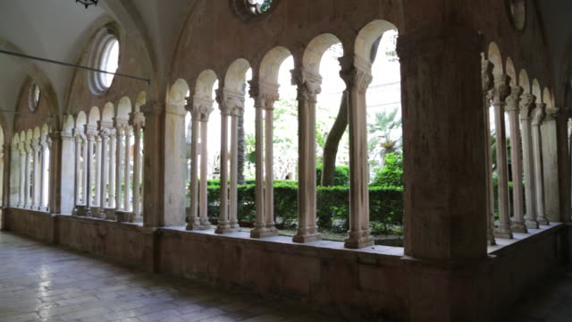 romanesque and gothic cloister of the franciscan monastery, dubrovnik - monastery stock videos & royalty-free footage
