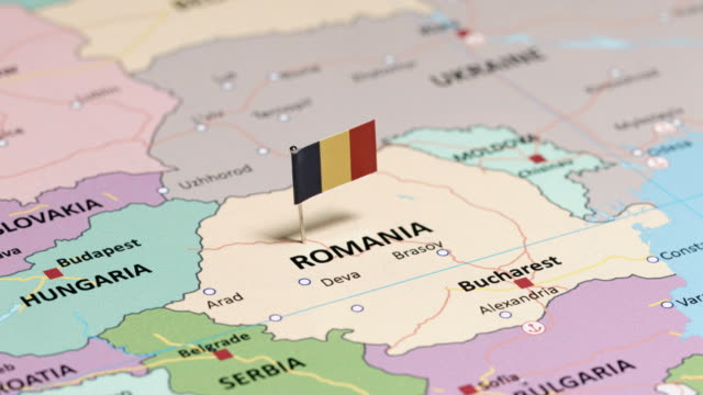 romania with national flag - romania stock videos & royalty-free footage
