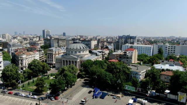 romanian athenaeum, bucharest/ aerial drone view - romania stock videos & royalty-free footage