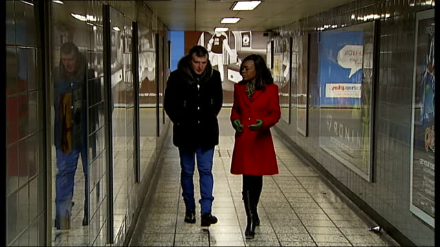 Romanian tourist Vasile Belea goes missing on London Underground ENGLAND London Stockwell Tube Station INT Reporter along station walkway with...