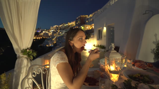 romantic candlelight dinner on santorini island