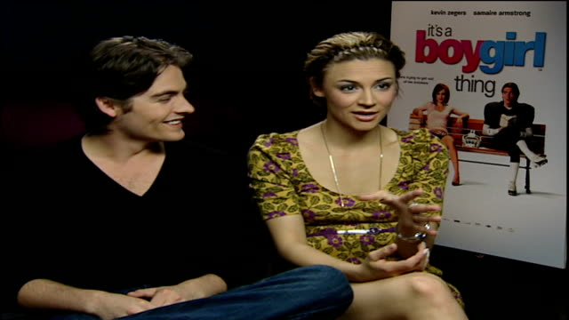 Romantic comedy 'It's a Boy Girl Thing' premieres at Leicester Square ENGLAND London INT Kevin Zegers interview SOT We just had a love affair for...
