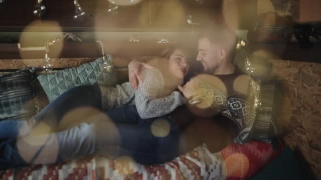 romantic couple celebrating christmas - camper trailer stock videos and b-roll footage