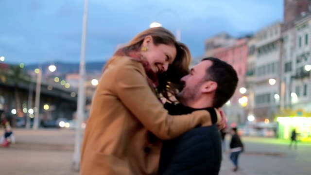 romantic couple enjoying in beautiful city - young couple stock videos & royalty-free footage