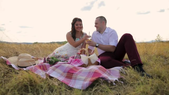 romantic couple on a picnic - picnic basket stock videos & royalty-free footage