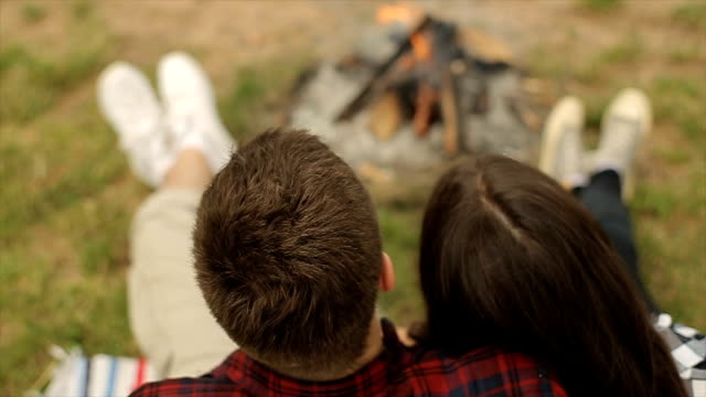 romantic couple - campfire stock videos & royalty-free footage