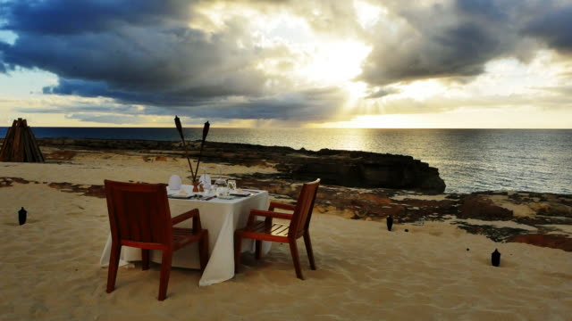 Romantic dining on beach, Bahamas