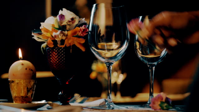 romantic dinner table, restaurant, valentines day - dining table stock videos & royalty-free footage