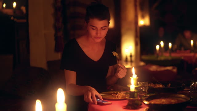 romantic dinner with smart phone - over eating stock videos & royalty-free footage