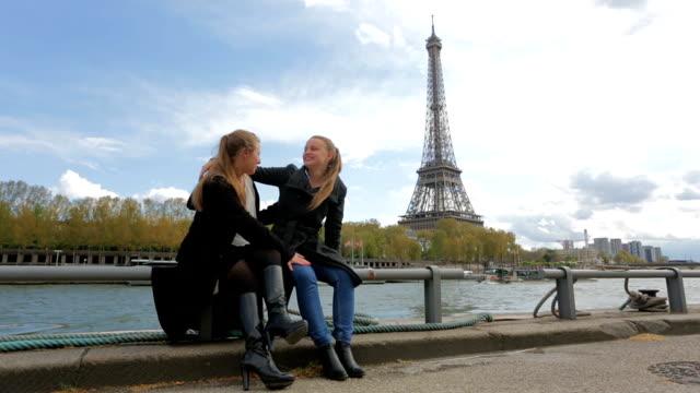 Romantic Female Couple Enjoying Themselves in Paris France