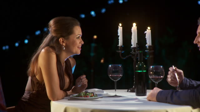hd dolly: romantic fine dining - date night romance stock videos and b-roll footage