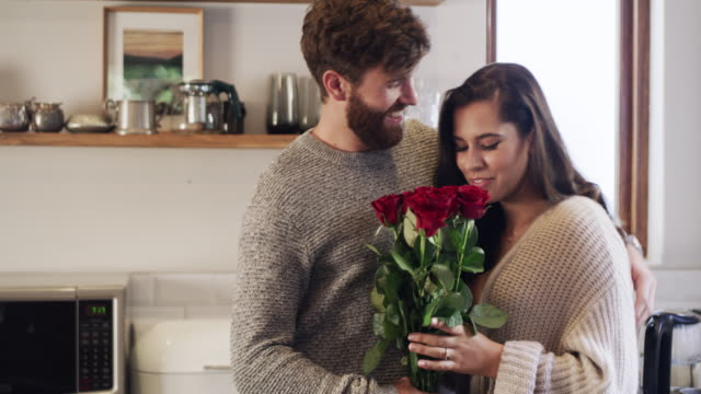 romantic gestures make for a happy marriage - giving stock videos & royalty-free footage