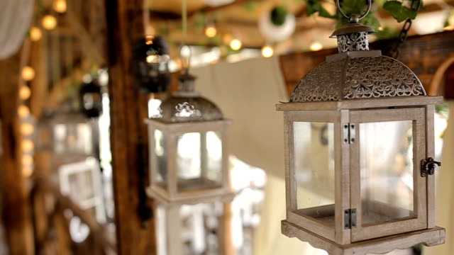 romantic lanterns for wedding decoration - decoration stock videos & royalty-free footage