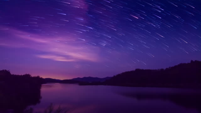 romantic meteor shower starry sky scene 4k - romantic sky stock videos & royalty-free footage
