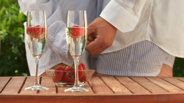 HD DOLLY: Romantic Moment With Champagne And Strawberries