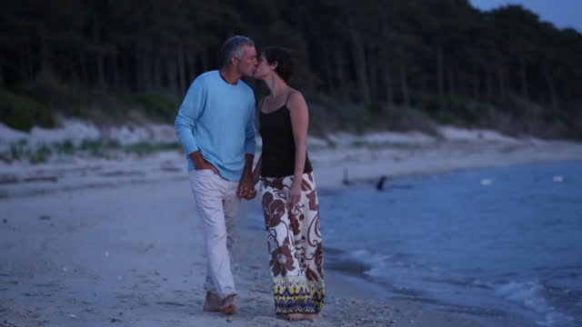 romantic senior couple on a beach