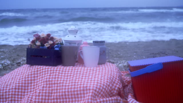 romantic times on the beach - gingham stock videos & royalty-free footage