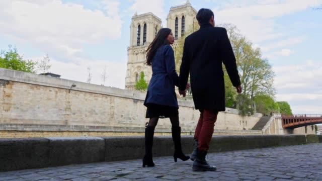 romantische junge asiatische paar wandern in paris - fluss seine stock-videos und b-roll-filmmaterial