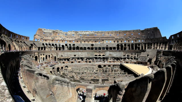 rome coliseum on blue sky background, italy - fish eye lens stock videos & royalty-free footage