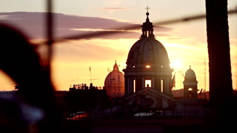 rome dome from pincio hill - rome italy stock videos & royalty-free footage