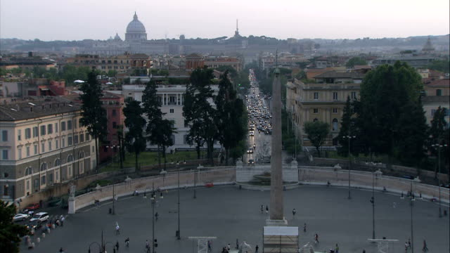 general views of st angelo's bridge / sunsets / early morning / vatican city / new fiat 500; good shots of sunset across cityscape of rome with... - moving down video stock e b–roll