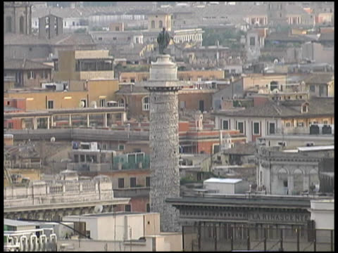 rome, italy: cityscape rooftops with trajan's column - natural column stock videos and b-roll footage