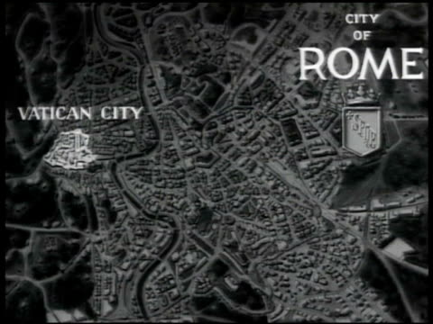 map rome map w/ sovereign territory of the holy see vatican city highlighted enclave european microstate citystate roman catholic church - stato del vaticano video stock e b–roll