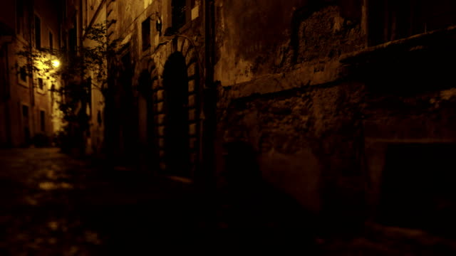 rome old center alley night - alley stock videos & royalty-free footage