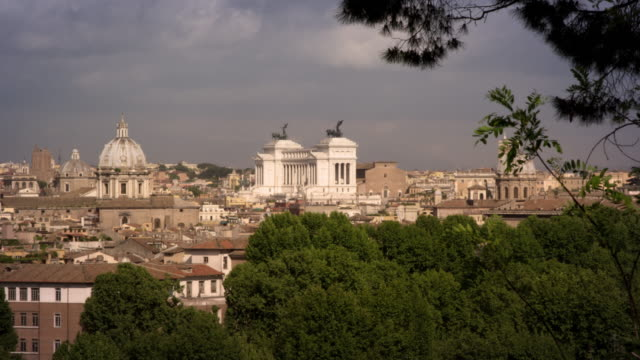 rome skyline of domes and altare della patria - altare della patria stock videos and b-roll footage