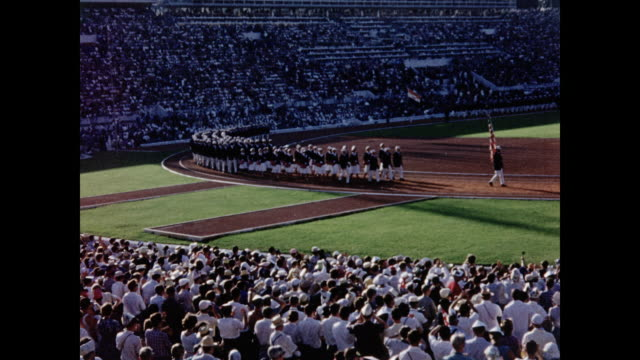 stockvideo's en b-roll-footage met 1960 rome summer olympic games opening ceremony - ceremonie